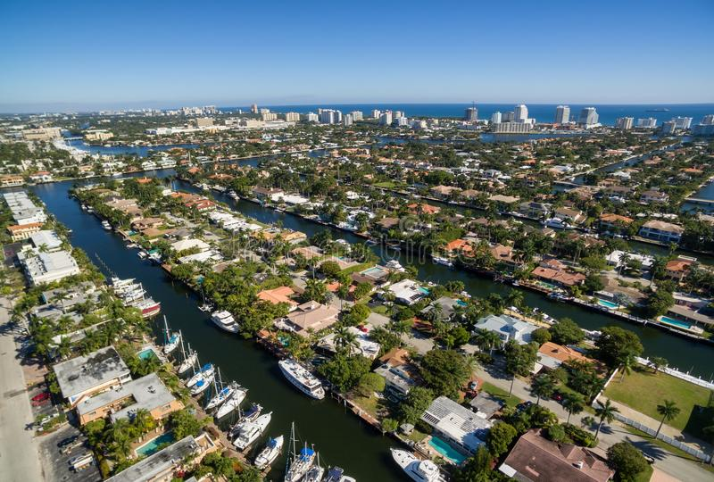 Aerial view of Fort Lauderdale canals stock photography