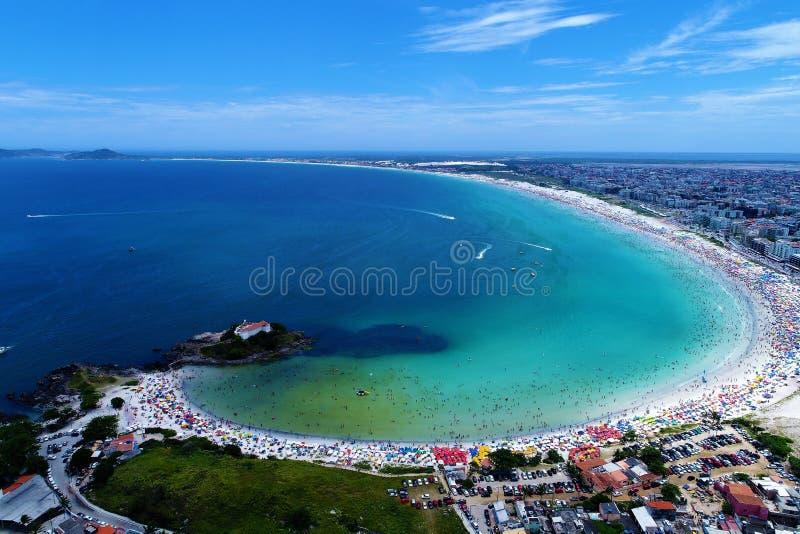 Aerial view of Forte Beach in Cabo Frio beach, Rio de Janeiro, Brazil. Drone view of Forte Beach and Japanese Island in Cabo Frio beach, Rio de Janeiro, Brazil royalty free stock photography