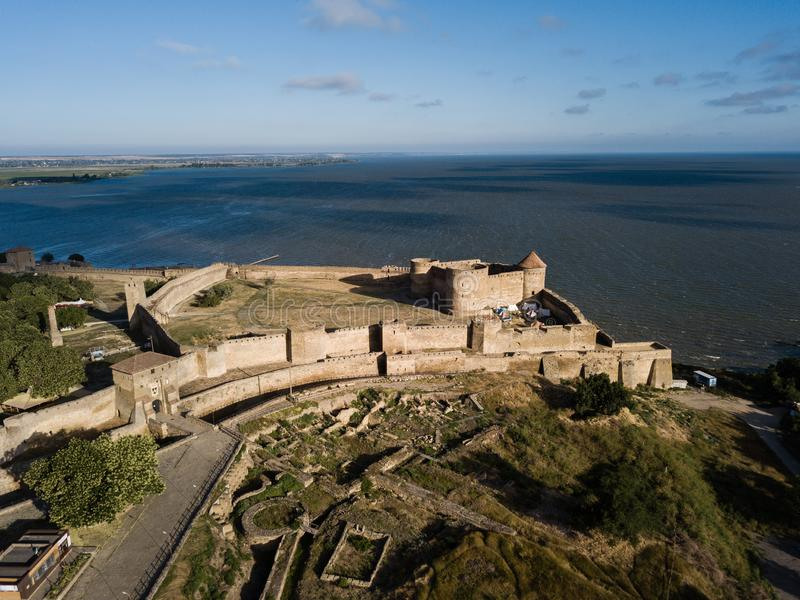 Aerial view on fortress Akkerman which is on the bank of the Dniester estuary, in Odessa region. Aerial view on citadel of ancient fortress Akkerman which is on stock images