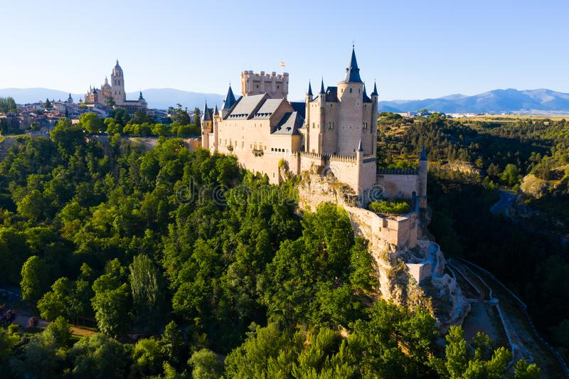 Aerial view of fortress Alcazar of Segovia. Spain stock images