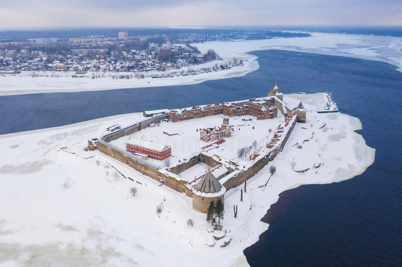 Aerial view on fortress Oreshek on island in Neva river near Shlisselburg town.  royalty free stock photo