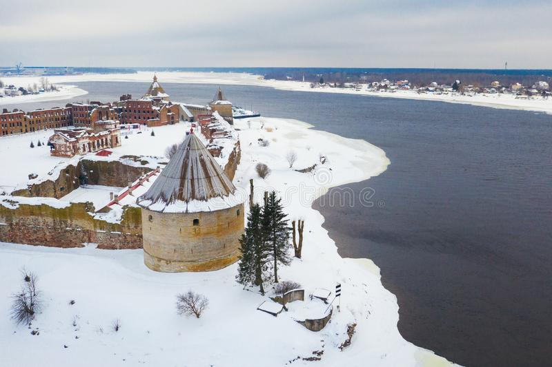 Aerial view on fortress Oreshek on island in Neva river near Shlisselburg town.  stock photo
