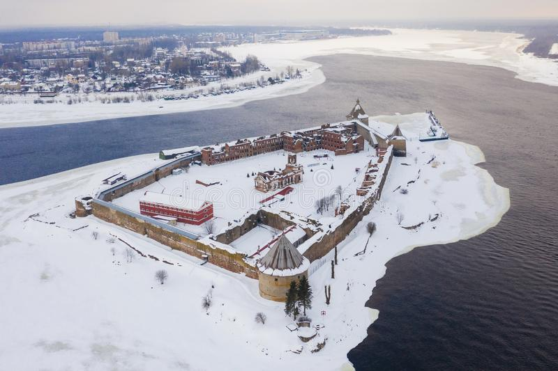 Aerial view on fortress Oreshek on island in Neva river near Shlisselburg town. Ladoga Lake. Island with a fortress.  stock photos