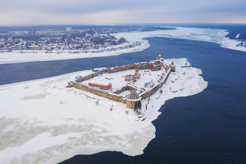 Aerial view on fortress Oreshek on island in Neva river near Shlisselburg town. Ladoga Lake. Island with a fortress.  stock image