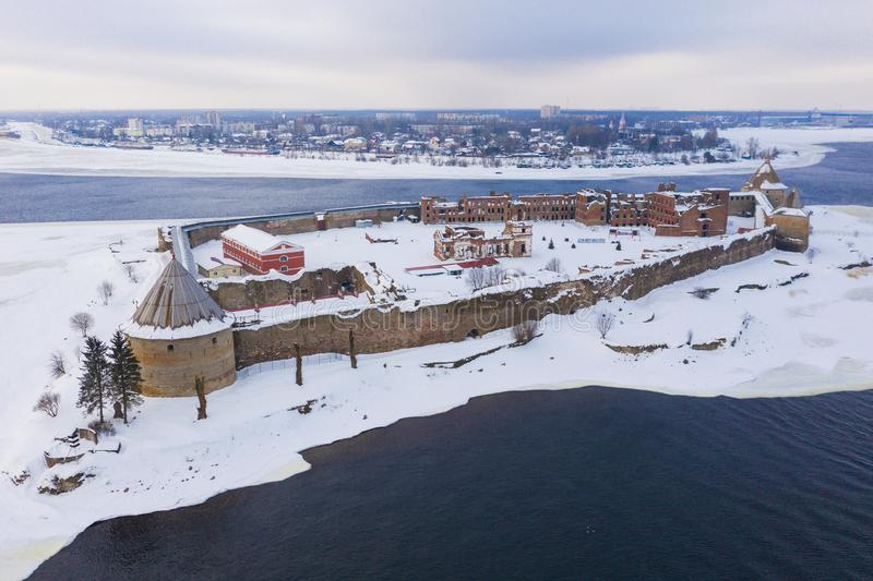 Aerial view on fortress Oreshek on island in Neva river near Shlisselburg town. Ladoga Lake. Island with a fortress.  royalty free stock images