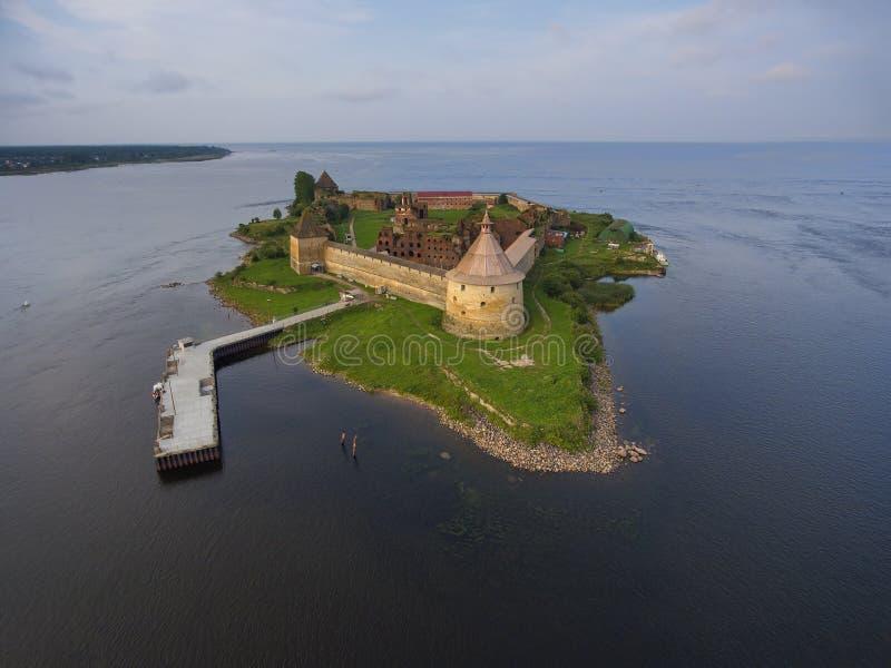 Aerial view on fortress Oreshek on island. In Neva river near Shlisselburg town, Leningrad region, Russia stock photos