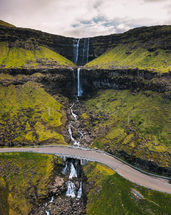 Aerial view of the Fossa Waterfall on island Bordoy in the Faroe Islands royalty free stock photography