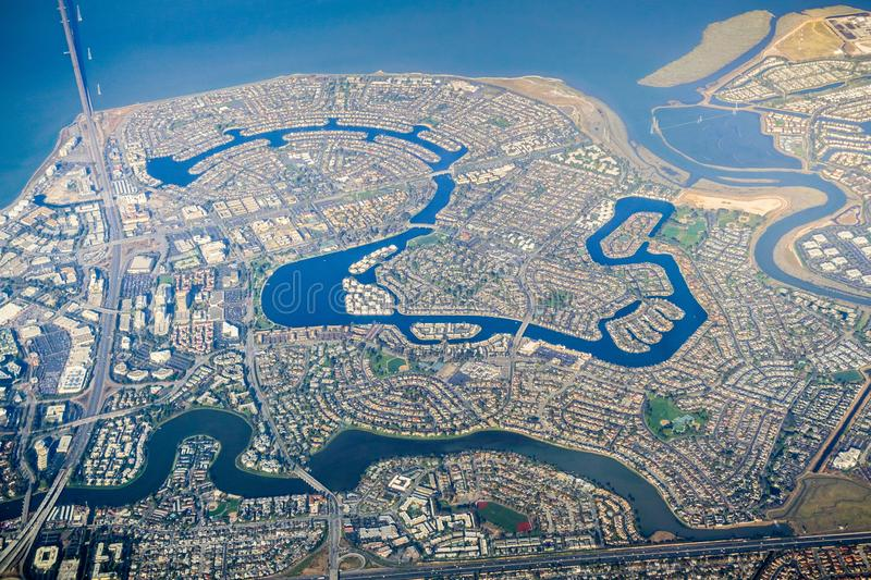 Aerial view Foster City, a planned city located in San Mateo County, San Francisco bay, California royalty free stock photos