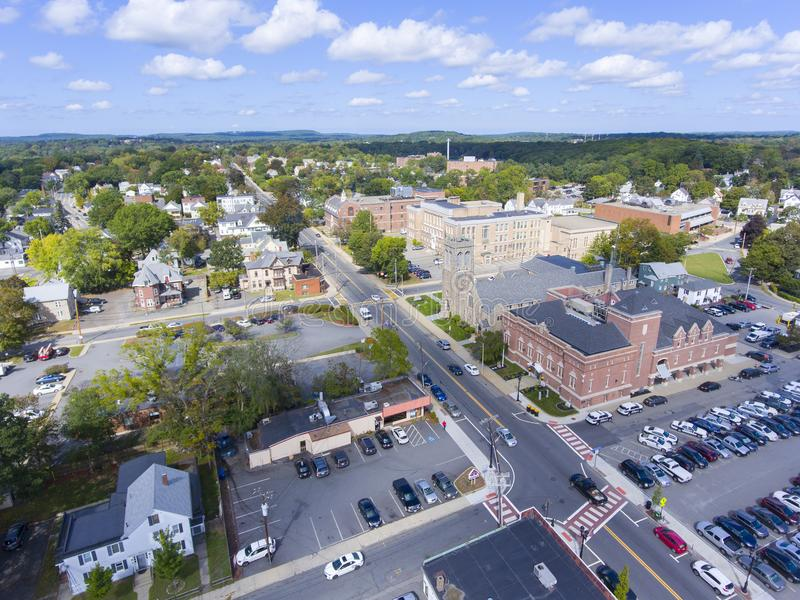 Framingham downtown, Massachusetts, USA. Aerial view of Framingham downtown including Police Department, New Life Presbyterian Community Church, and Danforth stock photography