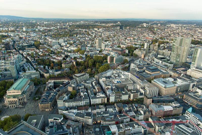 Aerial view of Frankfurt city. Business and finance center.  stock image