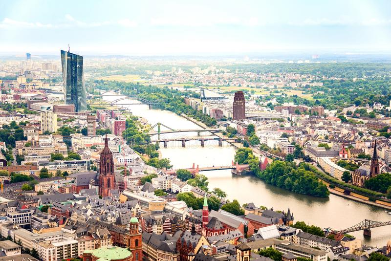 Aerial view of Frankfurt Um Main - old city center, European Central Bank building and river Main.  royalty free stock photos
