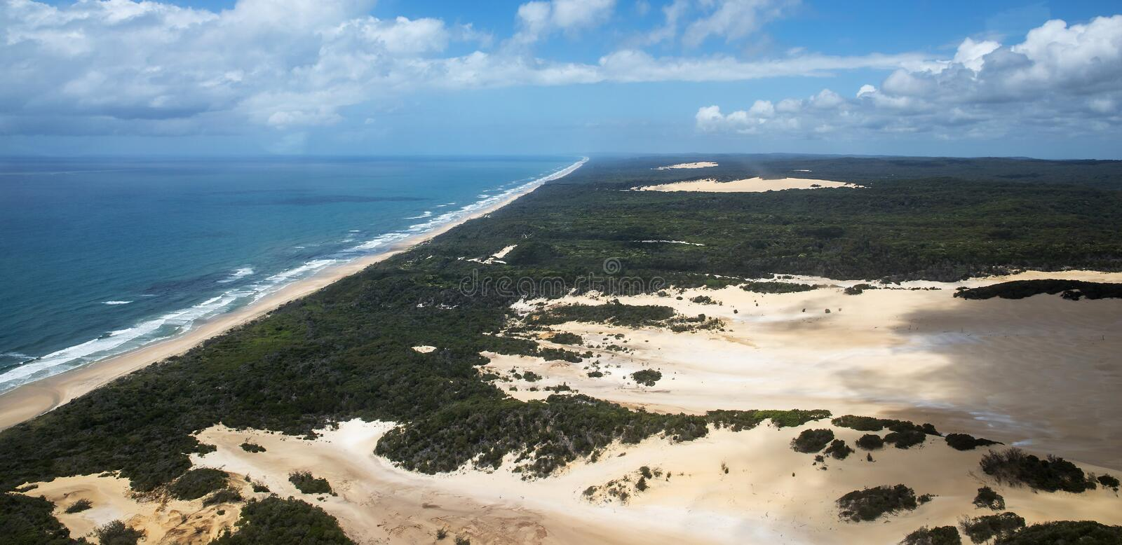 Aerial photo of Fraser Island. Aerial view of Fraser Island Queensland, Australia. With 75 mile beach and big sandbanks in the view. Taken on a sunny day with stock images