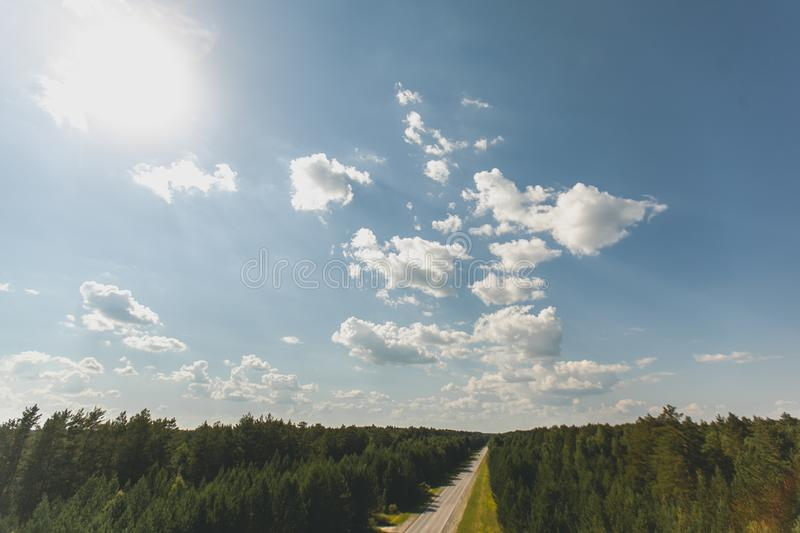 Aerial view of a free road, two-lane long forest road with tall green trees of dense forest growing on both sides. royalty free stock photo