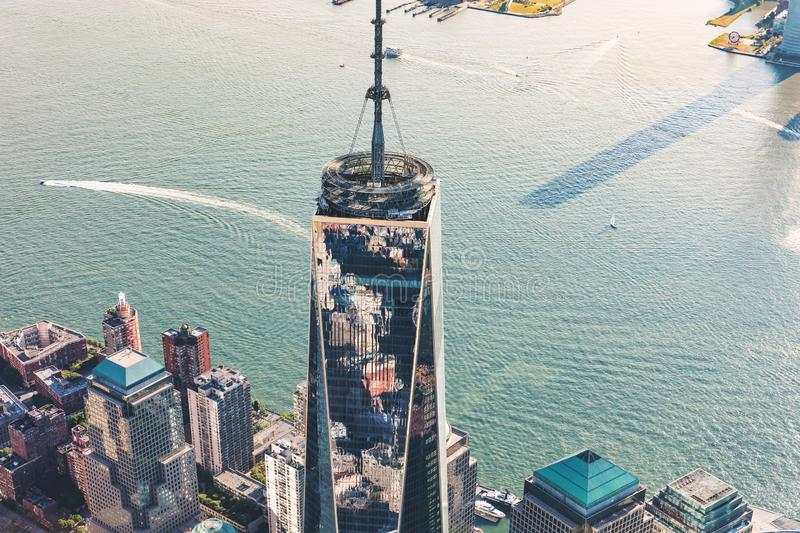 Aerial view of the Freedom Tower at One World Trade Center, Manhattan, New York. NEW YORK - JULY 02 2016: Aerial view of the Freedom Tower at One World Trade royalty free stock images