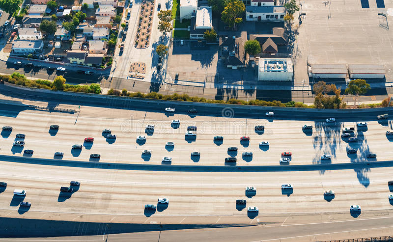 Aerial view of a freeway intersection in Los Angeles. Aerial view of a massive highway intersection in Los Angeles stock photo