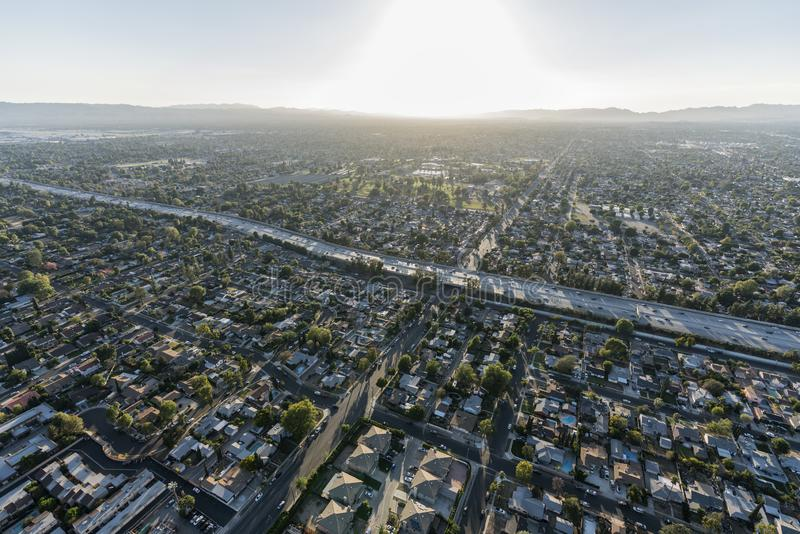 Aerial View 405 Freeway in Los Angeles San Fernando Valley royalty free stock images