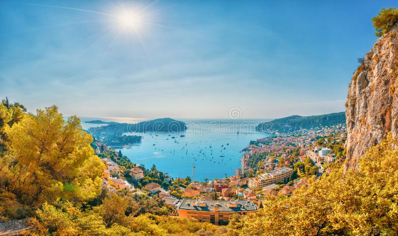 Aerial view of French Riviera coast with medieval town Villefranche sur Mer, Nice, France stock photos