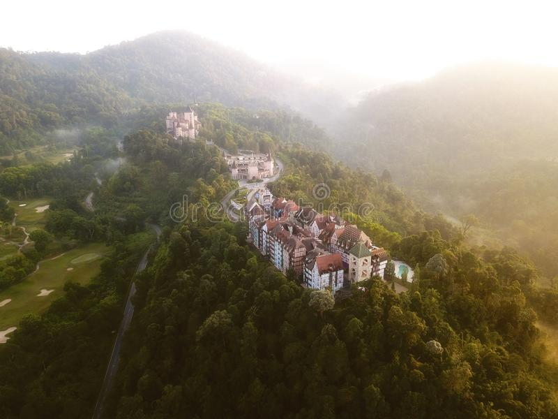 Aerial view of french style building at Bukit Tinggi with dramat. Ic fog and sunrise royalty free stock images