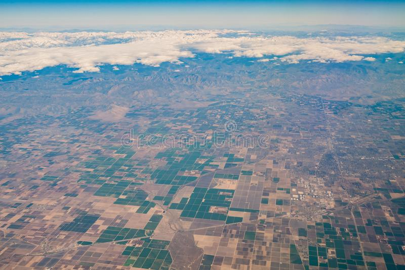 Aerial view of Fresno area. From an airplane royalty free stock images