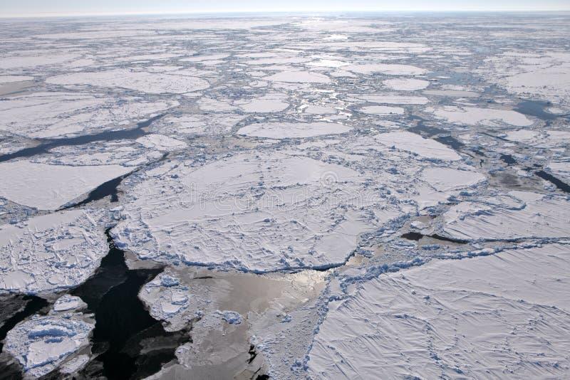 Aerial view of frozen Arctic Ocean. In winter stock photography