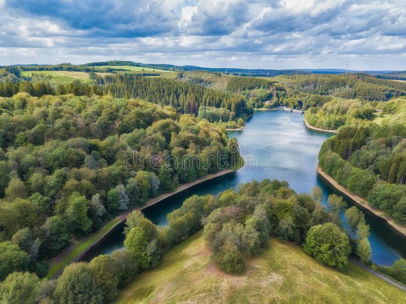Aerial view of the Fuerwigge dam near Meinerzhagen in the Sauerland. In Germany stock image