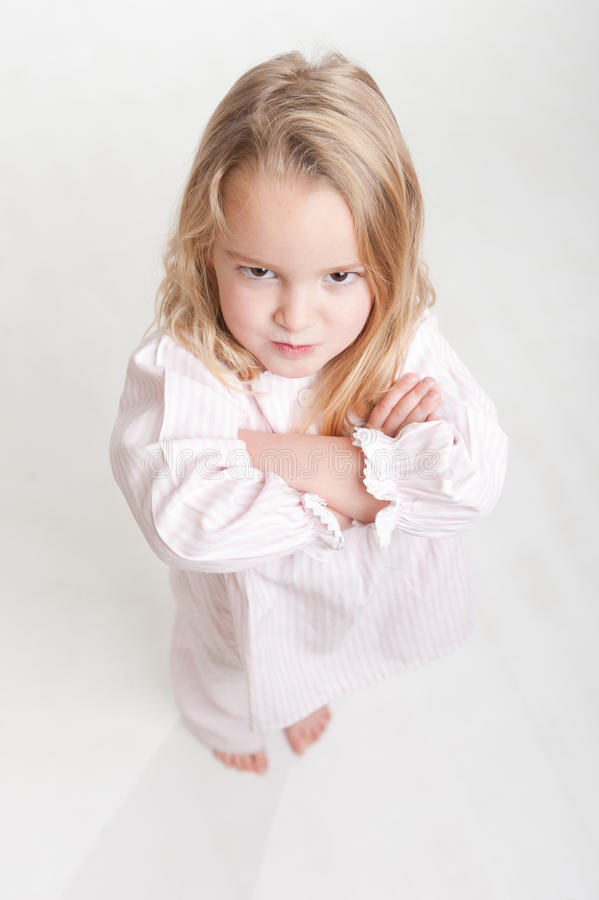 Download Aerial View Of A Furious Blonde Kid In Her Pajamas Stock Image - Image: 21362319