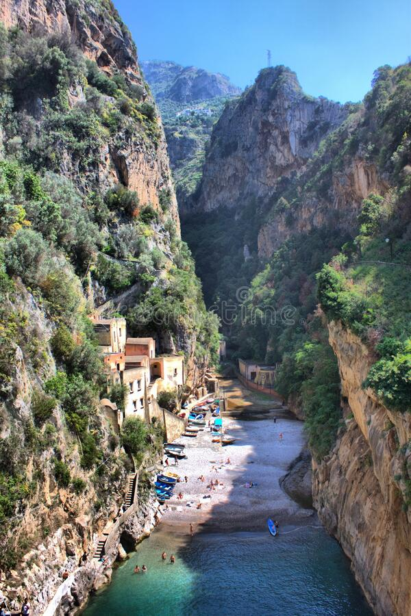 Aerial view of Furore fiord in Amalfi Coast royalty free stock images
