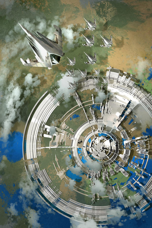 Aerial view of futuristic city stock illustration