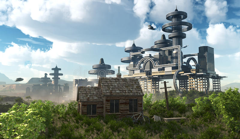 Aerial view of Futuristic City with flying spaceships. And ancient house stock illustration