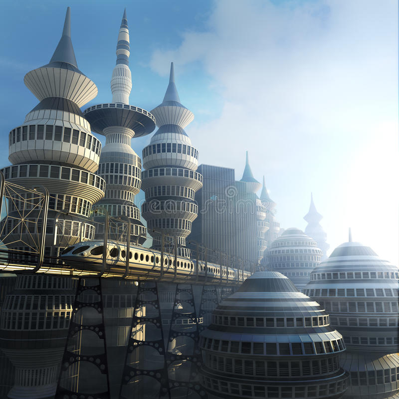 Aerial view of Futuristic City. Aerial sunshine view of Futuristic City with train vector illustration