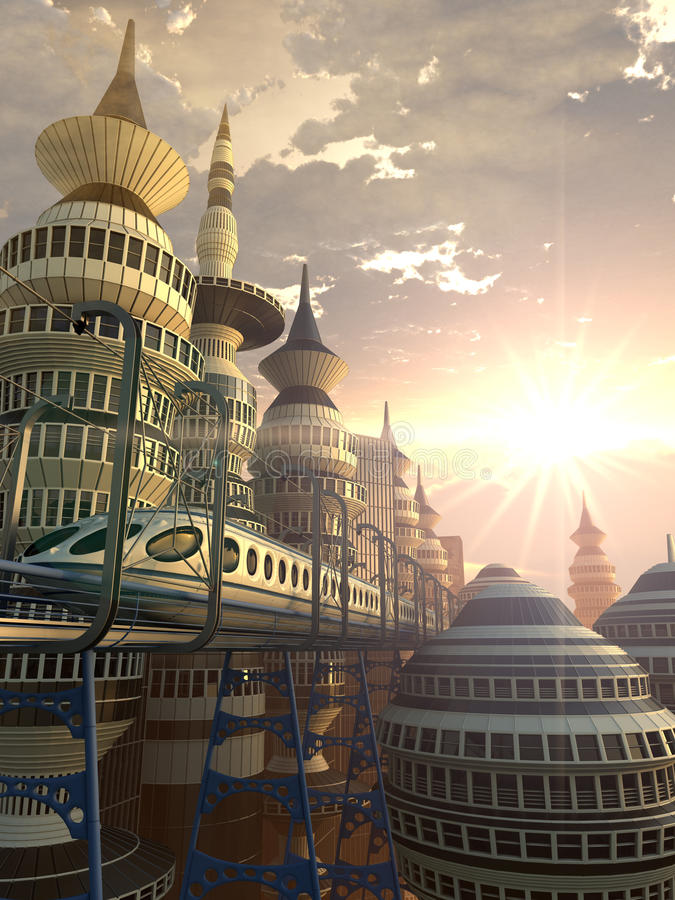 Aerial view of Futuristic City. Aerial sunshine view of Futuristic City with train stock illustration