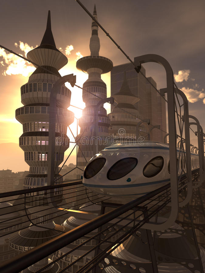 Aerial view of Futuristic City with train. And sunset royalty free illustration