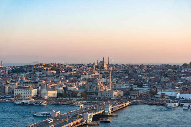 Aerial view of Galata bridge of Golden Horn bay and Eminonu stat. Ion. Istanbul, Turkey stock images
