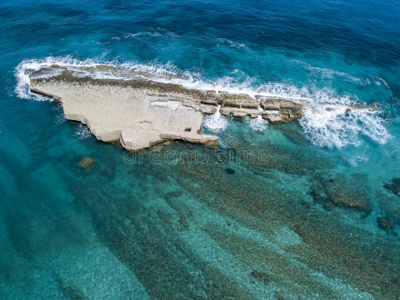 Aerial view of Galera Rock, Sant`Irene Bay in Briatico, Calabria, Italy. Aerial view of Sant`Irene Bay in Briatico, Calabria, Italy. Galera Rock stock images