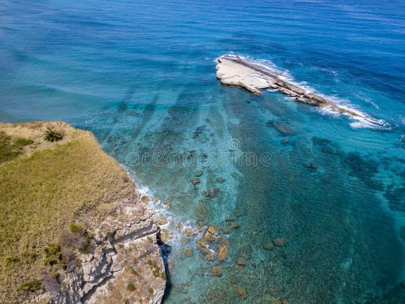 Aerial view of Galera Rock, Sant`Irene Bay in Briatico, Calabria, Italy. Aerial view of Sant`Irene Bay in Briatico, Calabria, Italy. Galera Rock. Tyrrhenian Sea stock photo