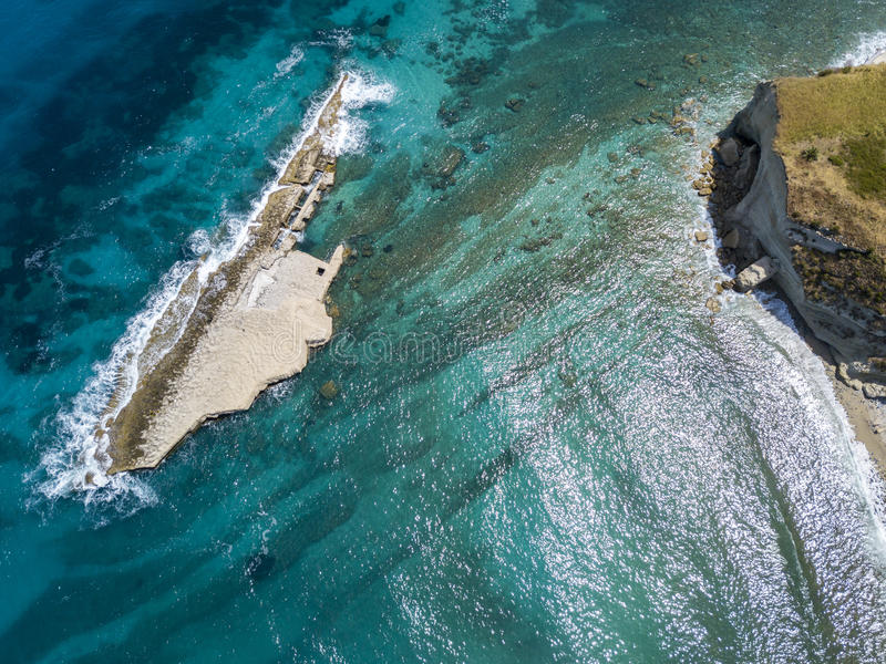 Aerial view of Galera Rock, Sant`Irene Bay in Briatico, Calabria, Italy. Aerial view of Sant`Irene Bay in Briatico, Calabria, Italy. Galera Rock. Tyrrhenian Sea stock photography