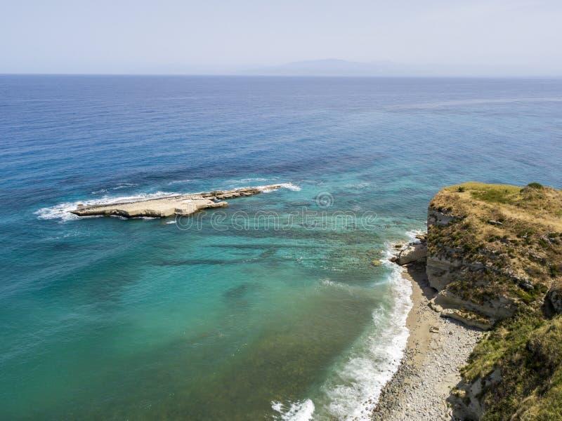 Aerial view of Galera Rock, Sant`Irene Bay in Briatico, Calabria, Italy. Aerial view of Sant`Irene Bay in Briatico, Calabria, Italy. Galera Rock. Tyrrhenian Sea stock image