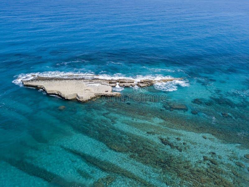 Aerial view of Galera Rock, Sant`Irene Bay in Briatico, Calabria, Italy. Aerial view of Sant`Irene Bay in Briatico, Calabria, Italy. Galera Rock. Tyrrhenian Sea stock photos