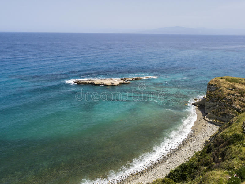 Aerial view of Galera Rock, Sant`Irene Bay in Briatico, Calabria, Italy. Aerial view of Sant`Irene Bay in Briatico, Calabria, Italy. Galera Rock. Tyrrhenian Sea royalty free stock photos