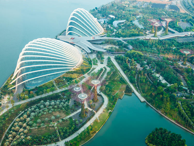 Aerial view of Gardens by the Bay royalty free stock photos