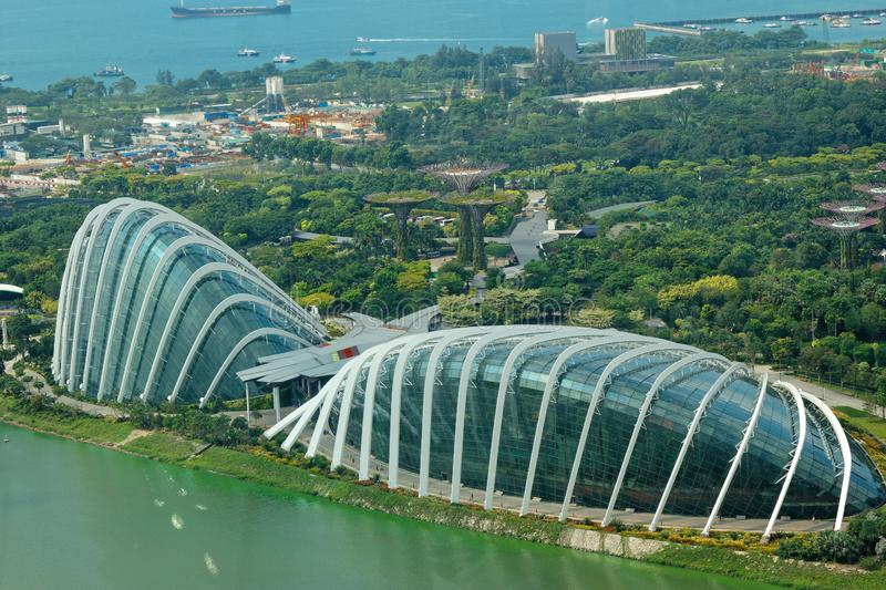 Aerial view of Gardens by the Bay and Supertree Grove stock photos
