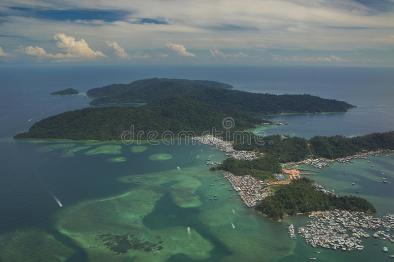 Aerial view of Gaya Island royalty free stock photo