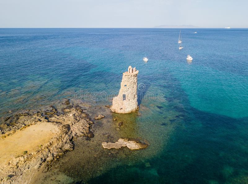 Aerial View of the Genovese Tower, Tour Genoise, Cap Corse Peninsula, Corsica. Coastline. France royalty free stock photos