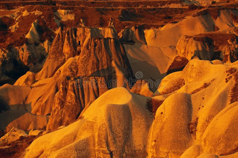 Cappadocia. An aerial view of the geologic formations in Cappadocia, Turkey stock image