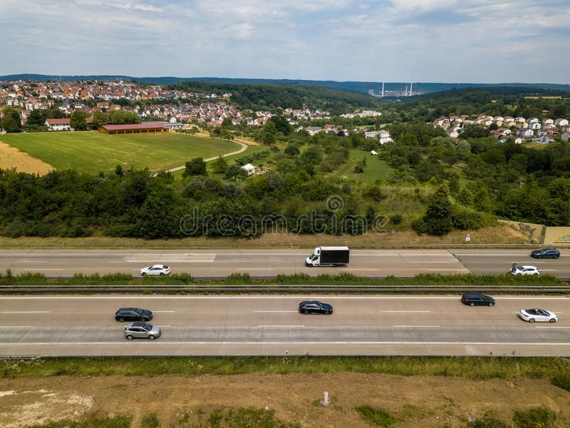 Aerial view of a German Autobahn royalty free stock photography