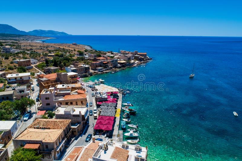 Aerial view of Gerolimenas in Laconia, is one of the most picturesque settlements of Mani with a small natural harbor. Peloponnese, Greece stock images