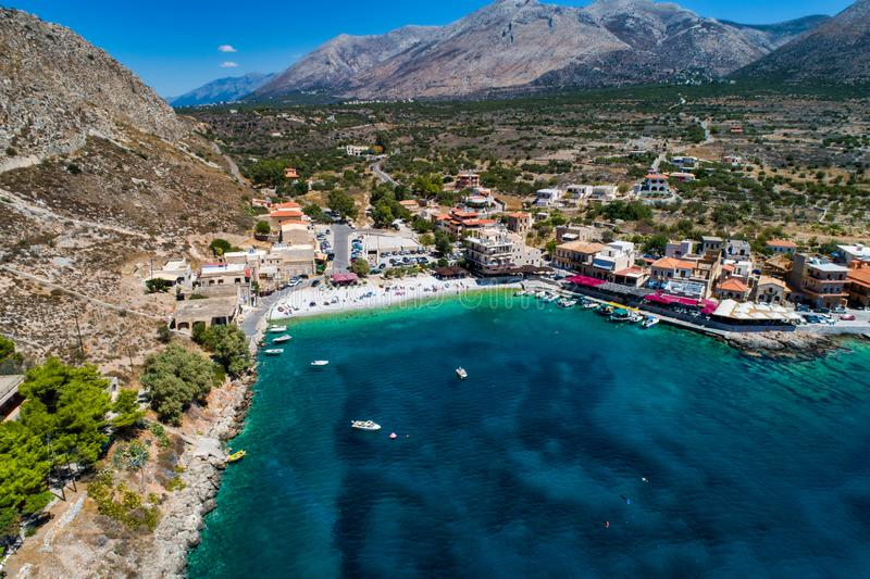 Aerial view of Gerolimenas in Laconia, is one of the most picturesque settlements of Mani with a small natural harbor. Peloponnese, Greece royalty free stock photos