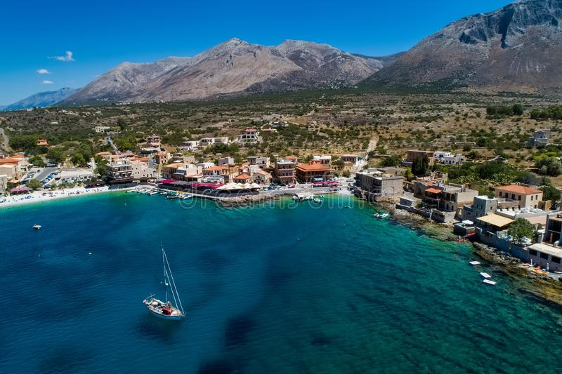 Aerial view of Gerolimenas in Laconia, is one of the most picturesque settlements of Mani with a small natural harbor. Peloponnese, Greece royalty free stock image