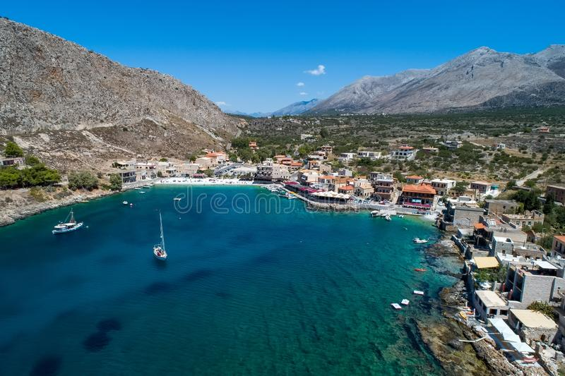 Aerial view of Gerolimenas in Laconia, is one of the most picturesque settlements of Mani with a small natural harbor. Peloponnese, Greece stock image