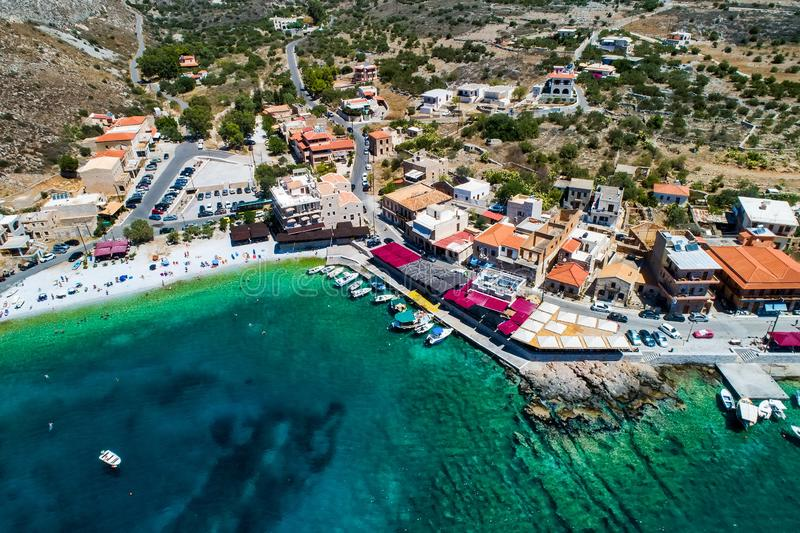Aerial view of Gerolimenas in Laconia, is one of the most picturesque settlements of Mani with a small natural harbor. Peloponnese, Greece royalty free stock photo